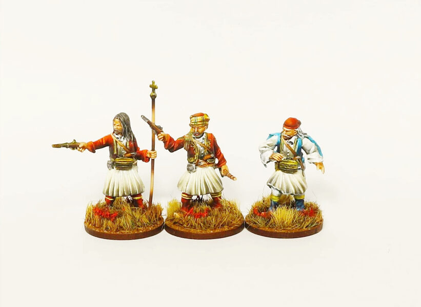 GWI002 Nikitaras with Greek Rebels command group 28mm Resin miniatures